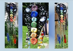 Sanskrit Chakra Glass Windchime, Rainbow Ceramic Wind Chime, Pottery Tile Art, Stained Glass Art, Garden Suncatcher, Garden Decor