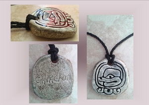 Mayan CHIKCHAN Snakebite Ceramic Necklace Mesoamerican Tzolk'in Day Sign Amulet