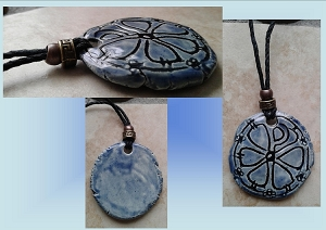 Chi Rho Necklace Blue Ceramic Pendant Good Fortune Pagan Jewelery Pottery Amulet Chronos God of Time