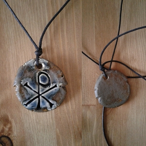 Chi Rho Necklace Blue Bronze Ceramic Pendant Good Fortune Pagan Amulet