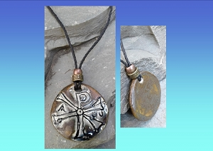Chi Rho Necklace Blue Bronze Ceramic Pendant Good Fortune Pagan Jewelery Pottery Amulet Chronos God of Time