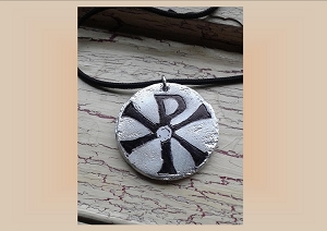 Chi Rho Necklace, Aluminium Metal Pendant, Good Fortune Etching, Pagan Jewelery, Metallic Amulet, Chronos God of Time, Tav Resh Symbol
