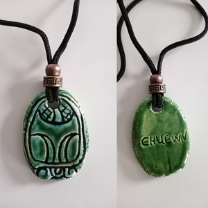 Mayan CHUWEN Necklace Turquoise Green Monkey Glyph Pendant Mesoamerican Ceramic CHUEWN Tzolk'in Day Sign Amulet