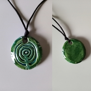 City of Atlantis Necklace Turquoise Green Amulet Ceramic Pendant