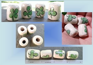 Set 4 Green Shamrock Ceramic Macrame Beads 4 and 3 leaf Clover Irish Dreadlock Dreads
