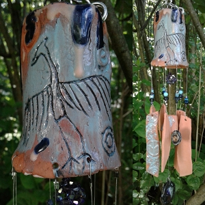 Big Crane Terra Cotta Wind Chime Pottery Chimes Turquoise Hopi Petroglyph Bird Mobile