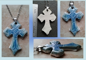 Celtic Cross Pendant Fine Porcelain Necklace Turquoise Templar Cross Sacred Christian Ceramic  .2