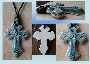 Celtic Cross Pendant Fine Porcelain Necklace Teal Turquoise Templar Cross Sacred Christian Ceramic