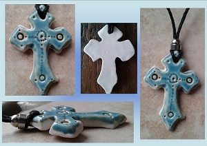 Celtic Cross Pendant Fine Porcelain Necklace Sea Turquoise Templar Cross Sacred Christian Ceramic