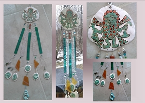 Turquoise Copper Incan Pottery Glass Wind Chime Moche Decapitator God Ceramic Mobile
