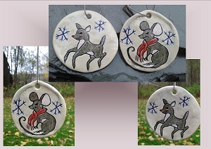 2 Reindeer Mouse Ceramic Christmas Ornaments Animal Pottery Holiday Decorations