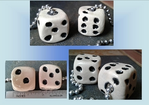et of 2 Playing Dice Ceramic Fan Lamp Pulls Clay Pottery Pulls Gambling Casino Pair of Black White Dice