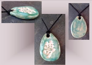 Sea Turquoise Kanji Dream Ceramic Essential Oil Diffuser Necklace Aromatherapy Clay Pottery Pendant