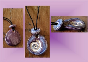 Celtic Spiral Clay Aromatherapy Necklace Purple Lilac Essential Oil Diffuser