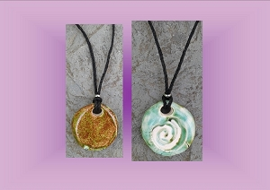 Celtic Spiral Clay Aromatherapy Necklace Green Moss Essential Oil Diffuser Disc  Ceramic Pendant