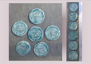 6 Ceramic Dolphin Pottery Buttons, Teal Ocean Ceramic Stone, Handmade Sewing Knitting Supplies
