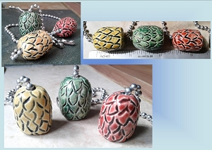 Set of 3 Dragon Egg Ceramic Fan Lamp Pulls Clay Pottery Pulls Red Gold Green Fantasy Dragon Eggs