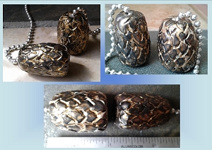 Set of 2 Dragon Egg Ceramic Fan Lamp Pulls Clay Pottery Pulls Pewter Gold Fantasy Dragon Eggs