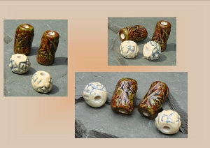 Beads, Dread Beads, Hair Accessories, Large Moss Brown Green Cream Beads, Ceramic Pottery Beads, Handmade Clay Beads