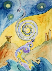 Ascension Dream Alien World Original Watercolor Painting Fantasy Art Aquarelle