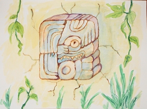 Mayan Glyph ''Utchi'', Original Watercolor Painting, Fine Art Aquarelle, Unframed, One of A Kind