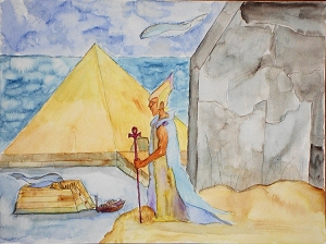 Annunaki Anunnaki Stargate, Fantasy, Original Watercolor Painting, Fine Art Aquarelle, Unframed, One of A Kind