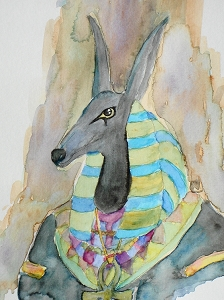 Anubis Original Watercolor Painting Aquarelle Ancient Egyptian