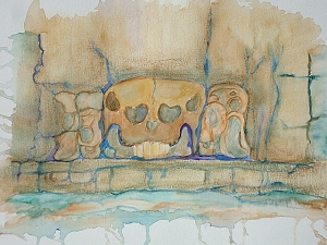 Mayan Temple of the Skull Original Watercolor Painting Aquarelle