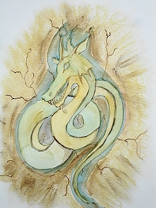 Stone Dragon Carving, Fantasy Drawing, Original Watercolor Painting, Fine Art Aquarelle Pastel, Unframed, One of A Kind