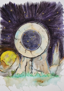 Eye of Orion Stone Megalith, Original Watercolor Painting, Fine Art Aquarelle, Unframed, One of A Kind