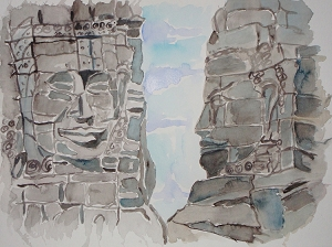 Cambodian Stone Buddhas, Original Watercolor Painting, Fine Art Aquarelle, Unframed, One of A Kind