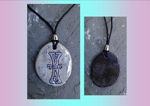 Zoroastrianism Necklace Symbol of Ease Pendant Fine Porcelain Blue Ceramic Sumerian Amulet