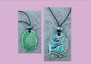 Mayan EB Necklace Mesoamerican Tzolk'in Day Sign Grass Glyph Ceramic Amulet Turquoise Green  (COPY)