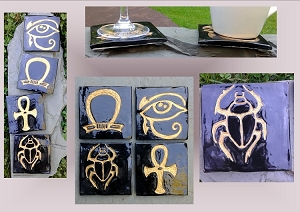 4 Egyptian Coasters, Sacred Symbols Tiles, Black Gold Square Coasters, Ankh Scarab Eye of Horus Shen Ring Pottery, Bathroom Ceramic Tiles