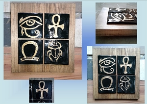 Egyptian Ceramic Tile Wall Art Solid Wood Plaque Ready to Hang Hand Carved Tiles
