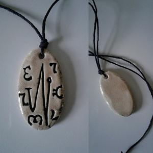 Angel Elohim Necklace Green Moss Archangel Sigil Ceramic Pendant Divine Amulet