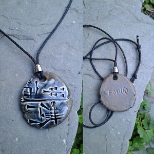 Cuneiform POWER Necklace Sumerian Pendant Blue Bronze Ceramic EMUQ Amulet