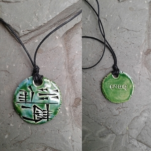 Cuneiform POWER Necklace Sumerian Pendant Turqoise Green Ceramic EMUQ Amulet