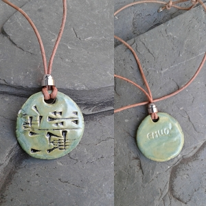 EMUQ Cuneiform Necklace Sumerian POWER Pendant Sea Green Ceramic Amulet Sigil