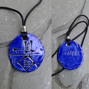 Cuneiform ENKI Necklace Ceramic God of Wisdom Sumerian Pendant Blue