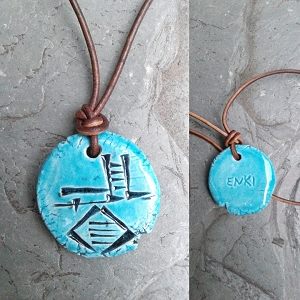 Cuneiform ENKI Necklace Turquoise Ceramic God of Wisdom Sumerian Pendant