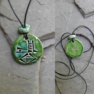 Cuneiform ENKI Necklace Turquoise Green Ceramic God of Wisdom Sumerian Pendant