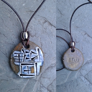 ETLU Necklace Cuneiform Sumerian Pendant Warrior Bronze Blue Ceramic Amulet