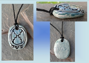 Mayan ETZ'NAB Blade Glyph Ceramic Necklace Mesoamerican Turquoise Tzolk'in Day Sign Amulet Clay Pottery Pendant Aztec