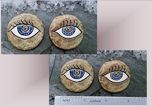 Set of 2 Blue Eye Mosaic Tiles Ceramic Stone Pottery Supplies Handmade
