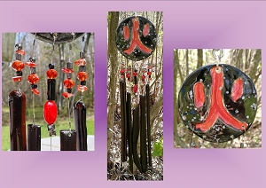 Ceramic Windchimes Glass Windchimes Fused Glass Windchime Red Windchime Kanjii  Windchimes Garden Decor Stained Glass Suncatchers