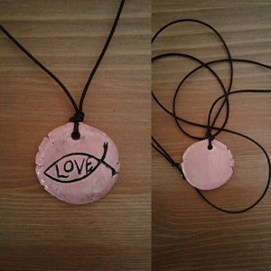 Christan Fish Necklace Pendant Religious & Pagan Pendant Pink Ceramic Love Amulet