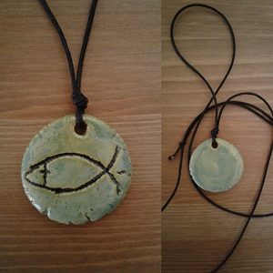 Christan Fish Necklace Pendant Religious & Pagan Pendant Sea Green Ceramic Amulet