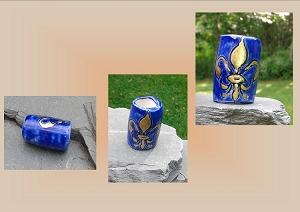 Large Hole Dreadlock Bead, Gold Fleur De Lis Dread Bead, Hair Accessories, Cobalt Blue Bead, Ceramic Pottery Beads, Handmade Clay Beads