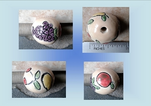 Ceramic Fruit Clay Bead Apple Grape Pear Cherry Pendant Pottery Jewelery